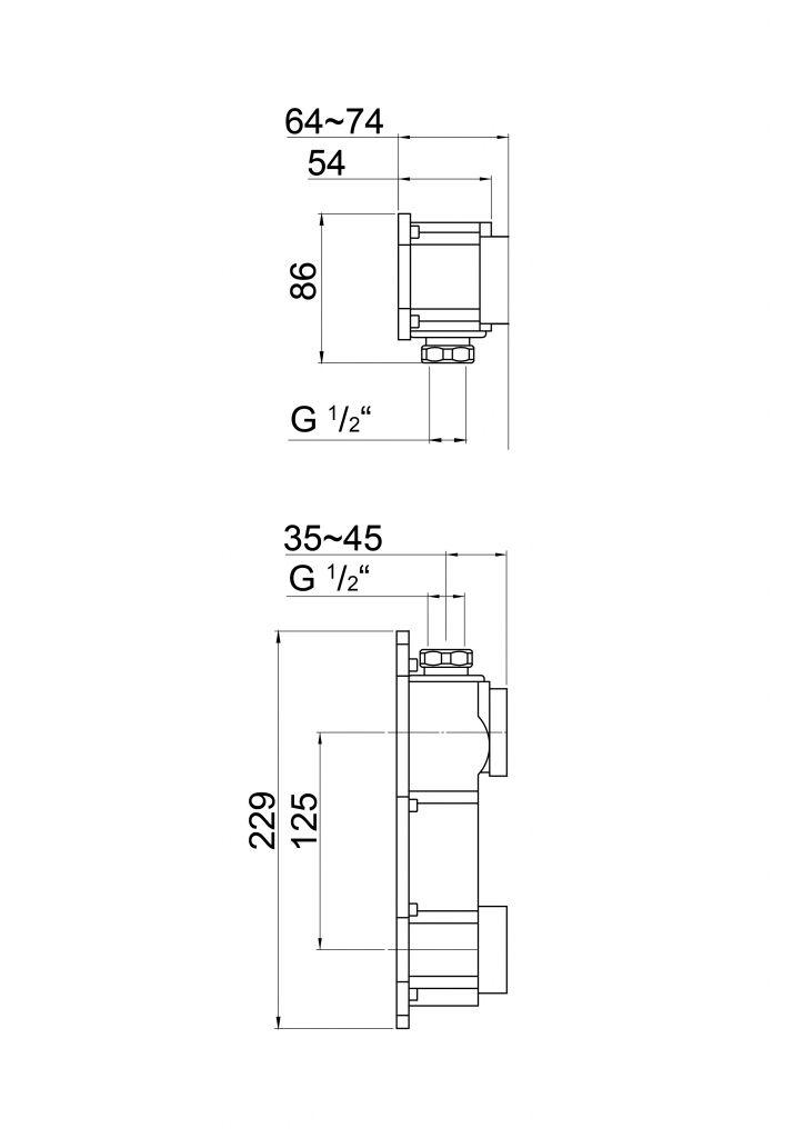 STEINBERG - Podomítkové těleso pro 2-otvorové baterie (010 1800)