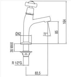 TRES - Umyvadlová baterie pro jednu nebo předem smíchanou vodu   (124503), fotografie 2/2