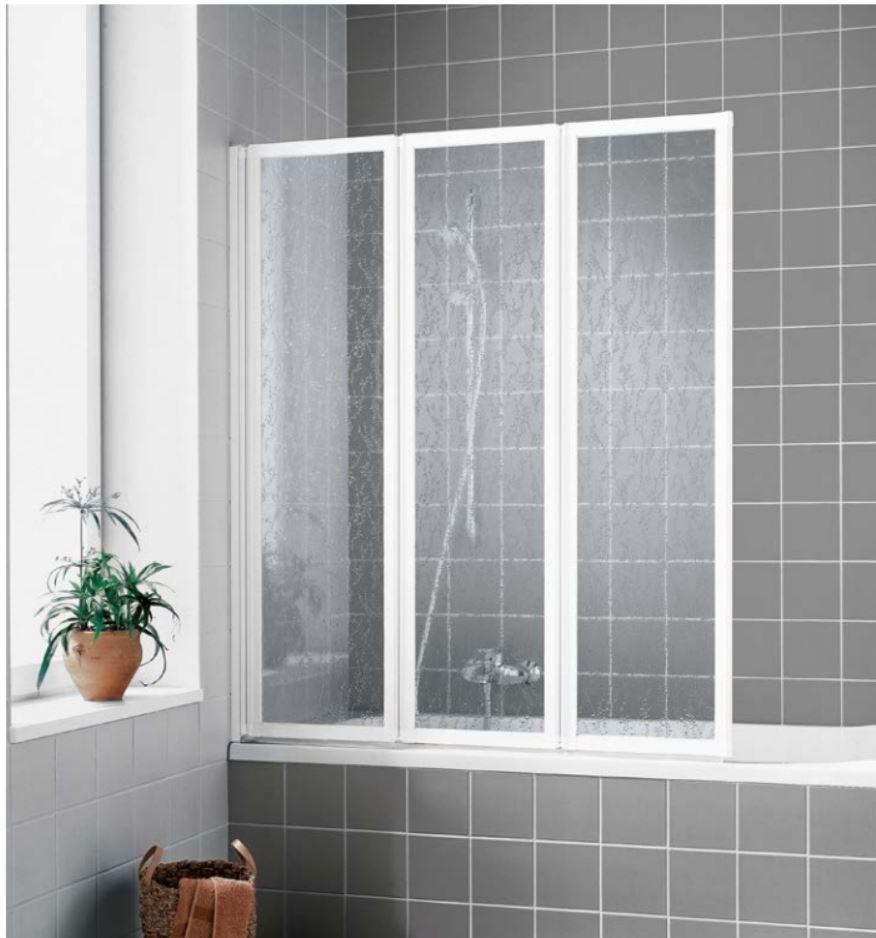 VÝPRODEJ - Kermi sklád. stěna Cada FW3 12014 1179-1189/1400 stříbrná ESG čiré Clean, tříkřídlá skládaná (CAFW312014VPK)