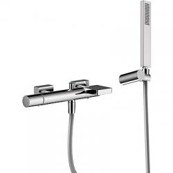TRES - Jednopáková baterie pro vanu-sprchus kaskádou. Ruční sprcha snastavitelným držákem, proti usaz. vod. kamene. Flexi had (21117001)