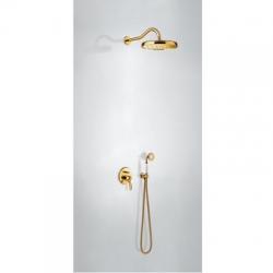 TRES - Sprchová sada vestavnás uzávěrem a regulací průtoku. Včetně podomítkového tělesa Pevná sprcha O310mm. s kloubem. (24218003OR)