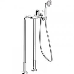 TRES - Vanová bateries vodovodní přípojky na podlaze. Ruční sprcha proti usaz. vod. kamene. Flexi hadice sdvojitým opletem (24219402)