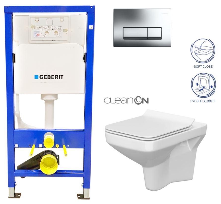 AKCE/SET/GEBERIT - Duofix Sada pro závěsné WC 458.103.00.1  + tlačítko DELTA51 CHROM + WC CERSANIT COMO CLEANON + Sedátko (458.103.00.1 CO1)