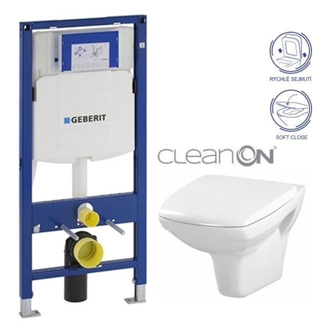 AKCE/SET/GEBERIT - Duofix pro závěsné WC 111.300.00.5 + klozet a sedátko CERSANIT CARINA CLEANON /K31-046+K98-0069/ (111.300.00.5 CA2)