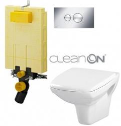 AKCE/SET/VIEGA - MONO modul WC čelní ovládání + ovládací tlačítko CHROM + WC CERSANIT CARINA CLEANON + SEDÁTKO (V606732CR CA1)