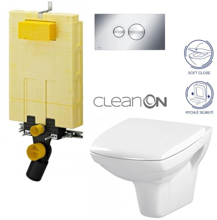 AKCE/SET/VIEGA - MONO modul WC čelní ovládání + ovládací tlačítko CHROM + WC CERSANIT CARINA CLEANON + SEDÁTKO (V606732CR CA2)