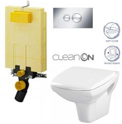 SET MONO modul WC čelní ovládání + ovládací tlačítko CHROM + WC CERSANIT CARINA CLEANON + SEDÁTKO (V606732CR CA2) - AKCE/SET/VIEGA