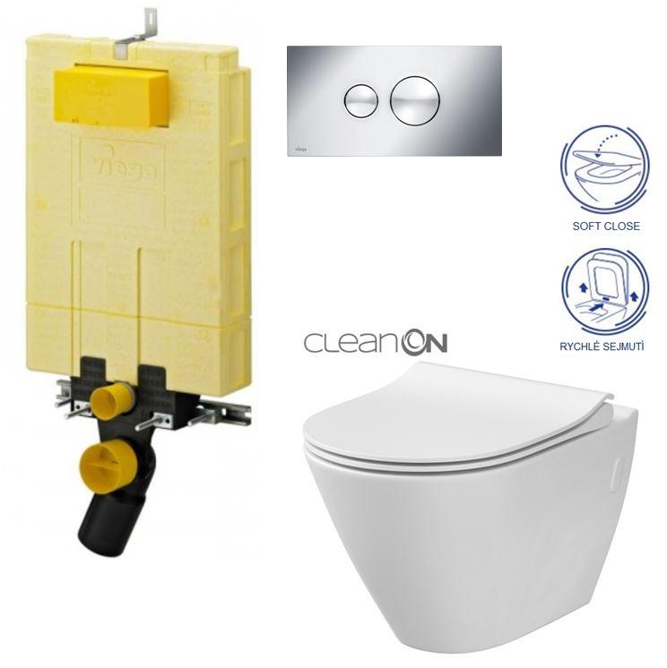 AKCE/SET/VIEGA - MONO modul WC čelní ovládání + ovládací tlačítko CHROM + WC CERSANIT CITY CLEANON + SEDÁTKO (V606732CR CI1)