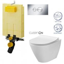 SET MONO modul WC čelní ovládání + ovládací tlačítko CHROM + WC CERSANIT CITY CLEANON + SEDÁTKO (V606732CR CI1) - AKCE/SET/VIEGA