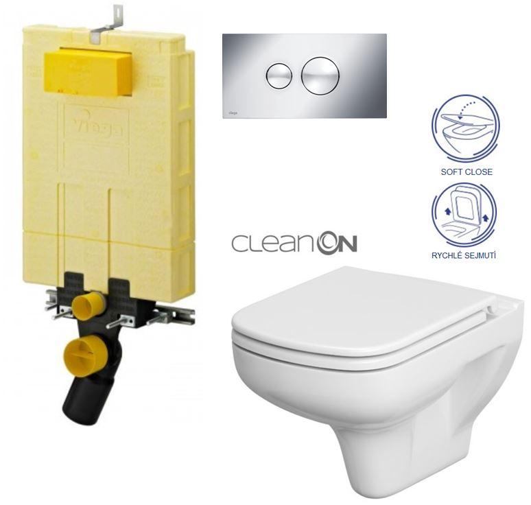 AKCE/SET/VIEGA - MONO modul WC čelní ovládání + ovládací tlačítko CHROM + WC CERSANIT COLOUR CLEANON + SEDÁTKO (V606732CR CN1)
