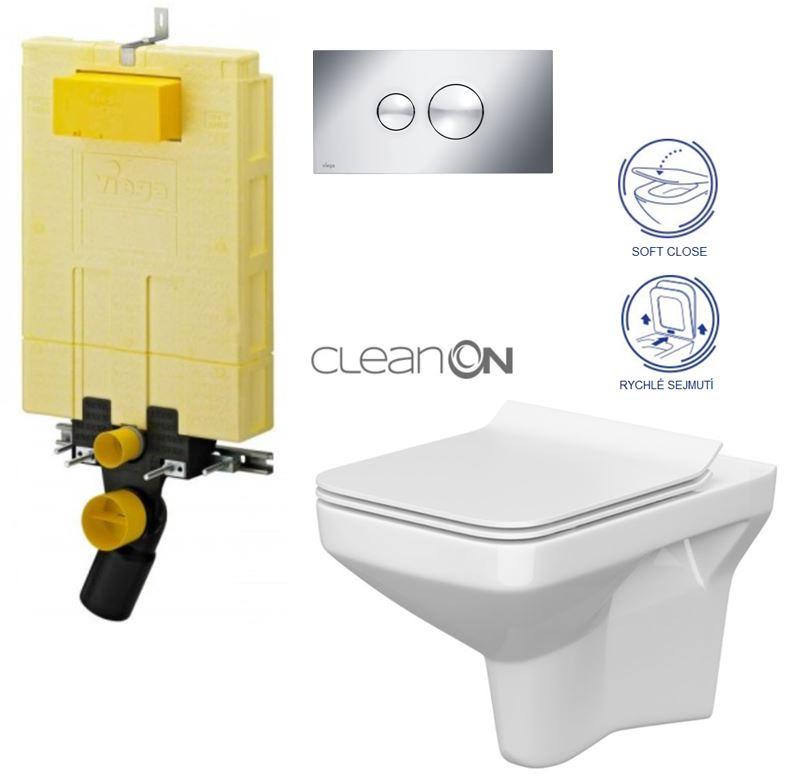 AKCE/SET/VIEGA - MONO modul WC čelní ovládání + ovládací tlačítko CHROM + WC CERSANIT COMO CLEANON + SEDÁTKO (V606732CR CO1)