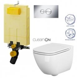 AKCE/SET/VIEGA - SET MONO modul WC čelní ovládání + ovládací tlačítko CHROM + WC CERSANIT CASPIA CLEANON + SEDÁTKO (V606732CR CP1)