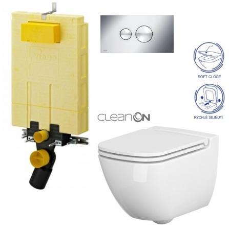 AKCE/SET/VIEGA - MONO modul WC čelní ovládání + ovládací tlačítko CHROM + WC CERSANIT CASPIA CLEANON + SEDÁTKO (V606732CR CP1)