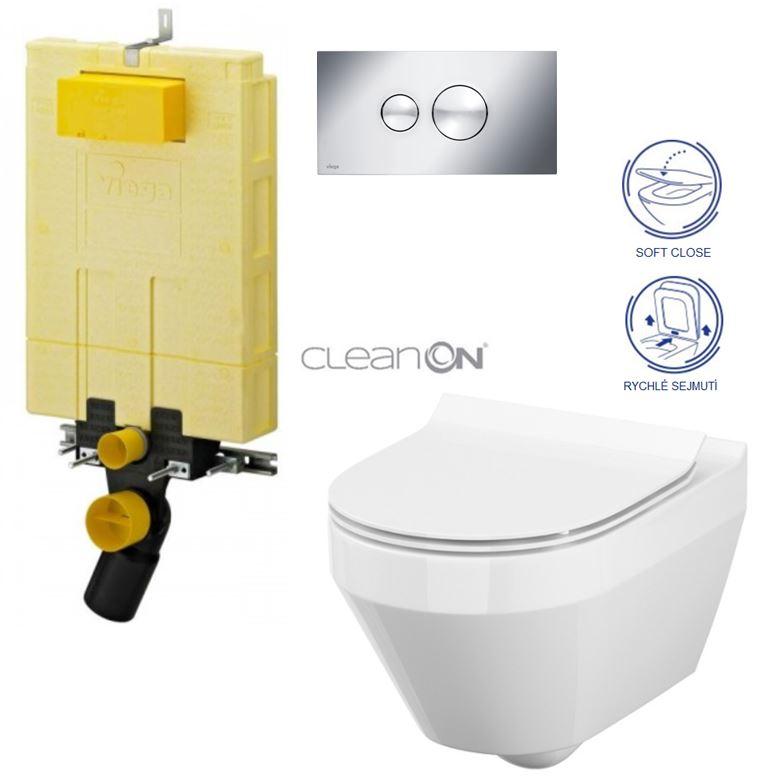 AKCE/SET/VIEGA - MONO modul WC čelní ovládání + ovládací tlačítko CHROM + WC CERSANIT CREA OVÁL CLEANON + SEDÁTKO (V606732CR CR1)
