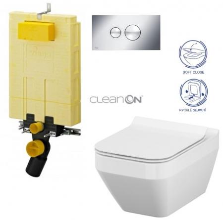 AKCE/SET/VIEGA - MONO modul WC čelní ovládání + ovládací tlačítko CHROM + WC CERSANIT CREA ČTVEREC CLEANON + SEDÁTKO (V606732CR CR2)
