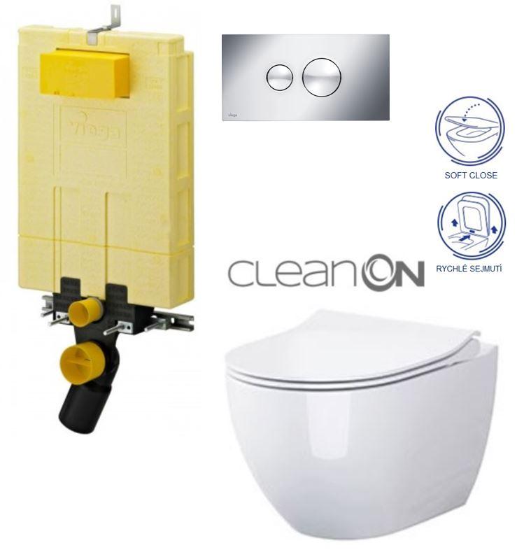 AKCE/SET/VIEGA - MONO modul WC čelní ovládání + ovládací tlačítko CHROM + WC OPOCZNO URBAN HARMONY CLEANON + SEDÁTKO (V606732CR HA1)