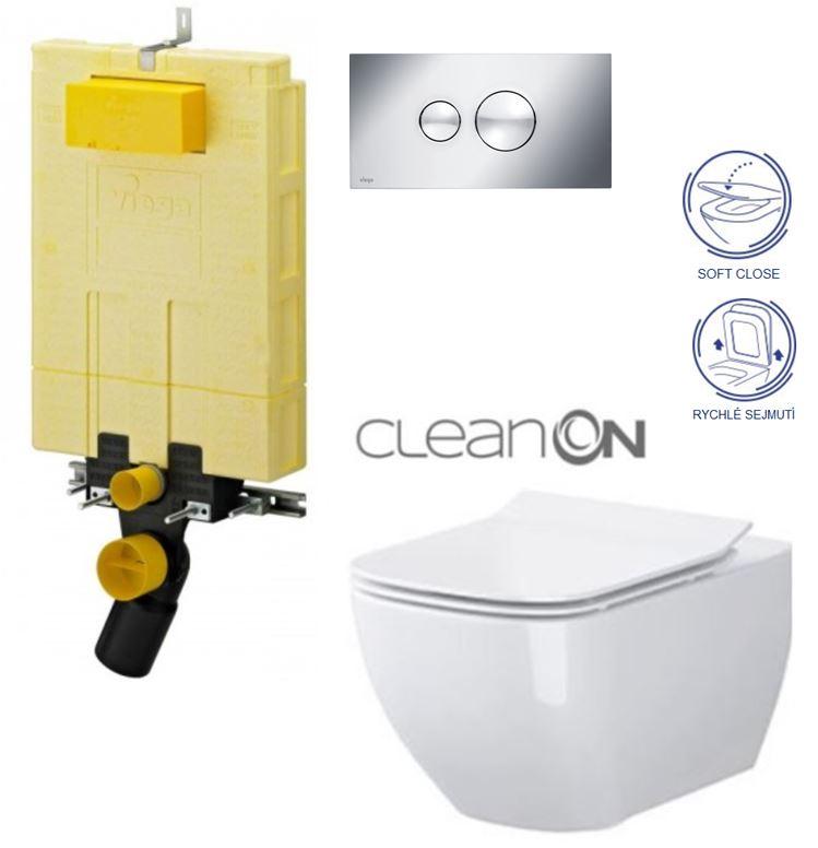 AKCE/SET/VIEGA - MONO modul WC čelní ovládání + ovládací tlačítko CHROM + WC OPOCZNO METROPOLITAN CLEANON + SEDÁTKO (V606732CR ME1)