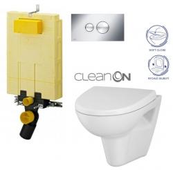 AKCE/SET/VIEGA - MONO modul WC čelní ovládání + ovládací tlačítko CHROM + WC CERSANIT PARVA CLEANON + SEDÁTKO (V606732CR PA1)