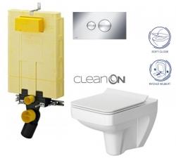 AKCE/SET/VIEGA - MONO modul WC čelní ovládání + ovládací tlačítko CHROM + WC CERSANIT SPLENDOUR CLEANON + SEDÁTKO (V606732CR SP1)