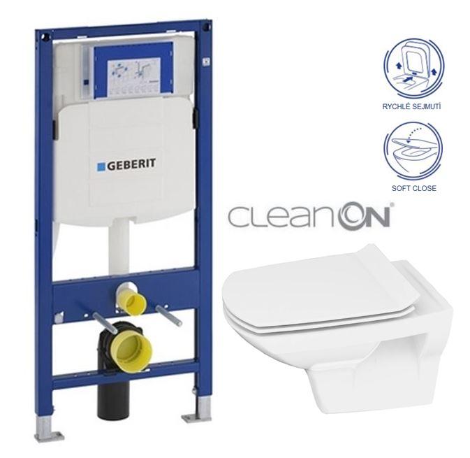 AKCE/SET/GEBERIT - Duofix pro závěsné WC 111.300.00.5 + klozet a sedátko CERSANIT CARINA CLEANON /K31-046+K98-0135/ (111.300.00.5 CA3)