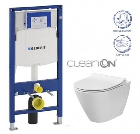AKCE/SET/GEBERIT - Duofix pro závěsné WC 111.300.00.5 CR + klozet a sedátko CERSANIT CITY CLEANON /K35-025+K98-0146/ (111.300.00.5 CI1)