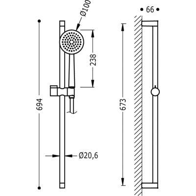 TRES - Sprchová souprava, proti usaz. vod. kamene FASHIONO20,6mm, délka 673mm. Flexi hadice SATIN (03463707)