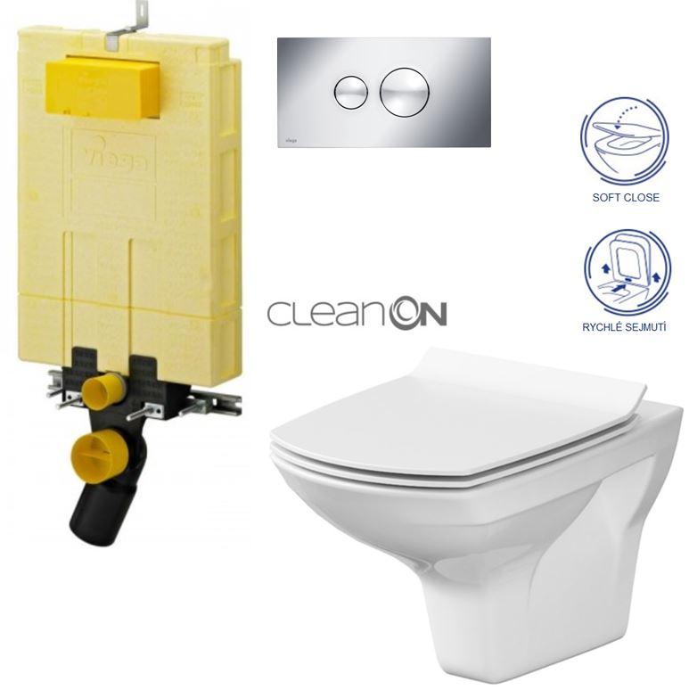 AKCE/SET/VIEGA - MONO modul WC čelní ovládání + ovládací tlačítko CHROM + WC CERSANIT CARINA CLEANON + SEDÁTKO (V606732CR CA3)