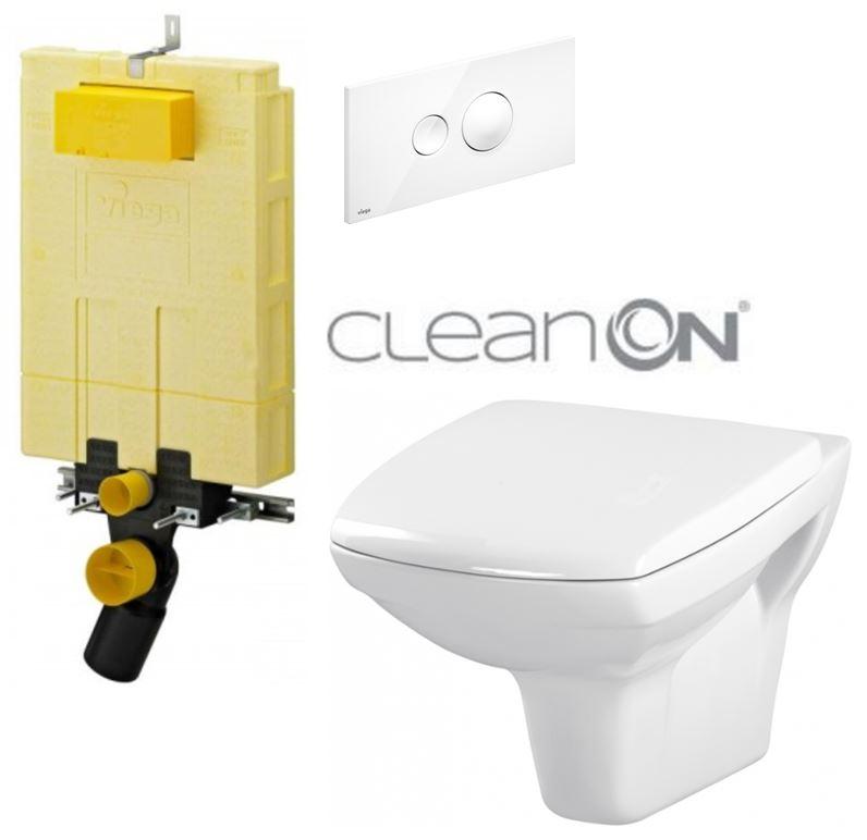 AKCE/SET/VIEGA - MONO modul WC čelní ovládání + ovládací tlačítko BÍLÉ + WC CERSANIT CARINA CLEANON + SEDÁTKO (V606732BI CA1)