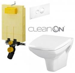 SET MONO modul WC čelní ovládání + ovládací tlačítko BÍLÉ + WC CERSANIT CARINA CLEANON + SEDÁTKO (V606732BI CA1) - AKCE/SET/VIEGA