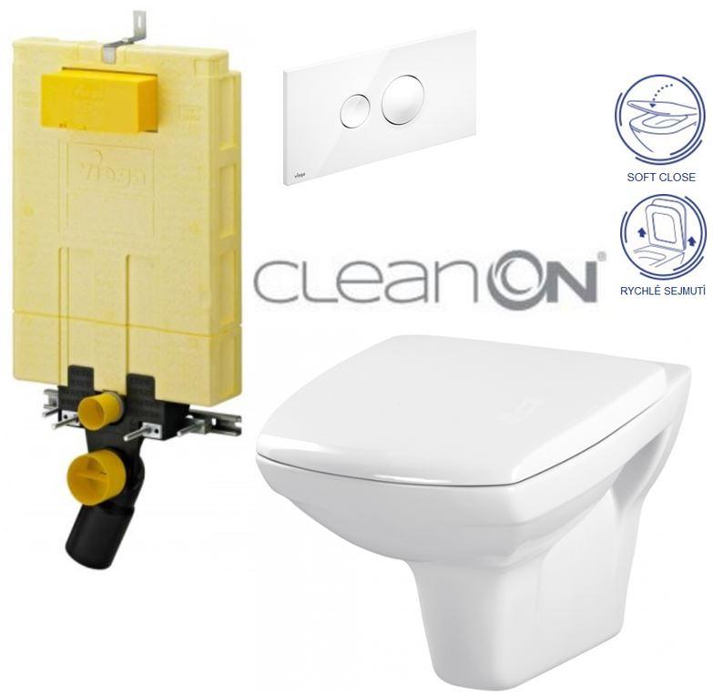 AKCE/SET/VIEGA - MONO modul WC čelní ovládání + ovládací tlačítko BÍLÉ + WC CERSANIT CARINA CLEANON + SEDÁTKO (V606732BI CA2)
