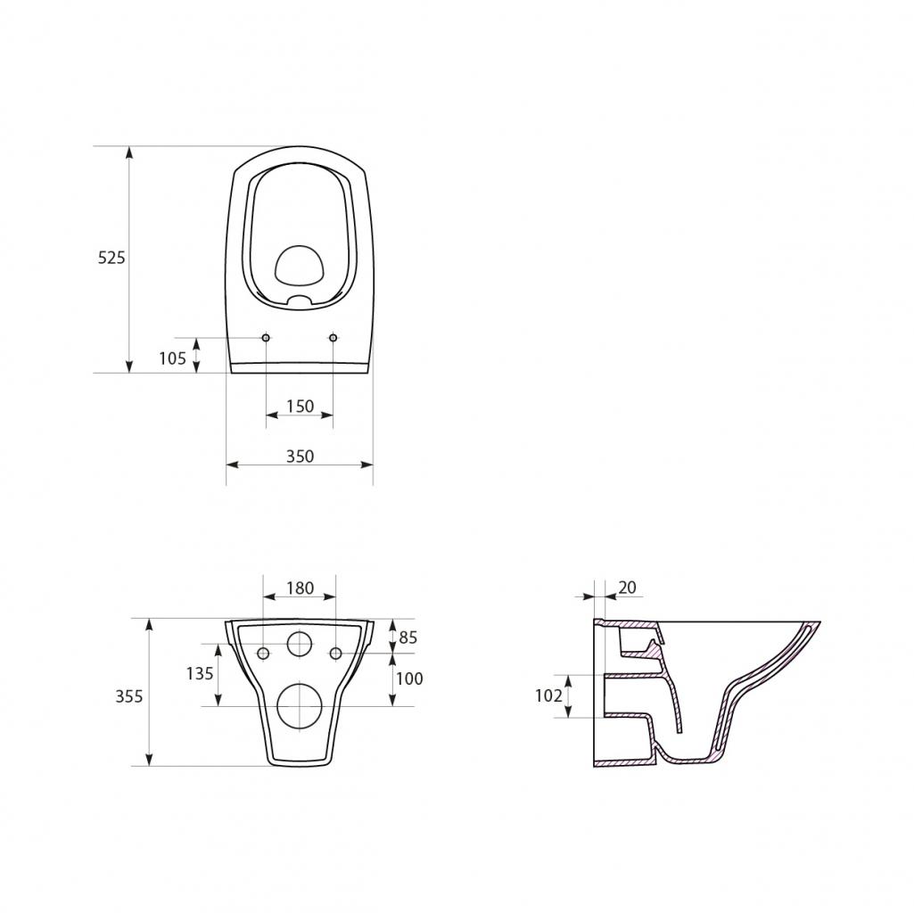 AKCE/SET/VIEGA - MONO modul WC čelní ovládání + ovládací tlačítko BÍLÉ + WC CERSANIT CARINA CLEANON + SEDÁTKO (V606732BI CA2), fotografie 14/9