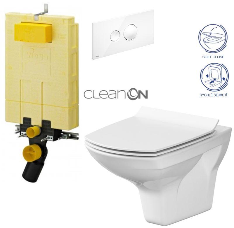 AKCE/SET/VIEGA - MONO modul WC čelní ovládání + ovládací tlačítko BÍLÉ + WC CERSANIT CARINA CLEANON + SEDÁTKO (V606732BI CA3)