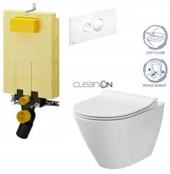 AKCE/SET/VIEGA - MONO modul WC čelní ovládání + ovládací tlačítko BÍLÉ + WC CERSANIT CITY CLEANON + SEDÁTKO (V606732BI CI1)