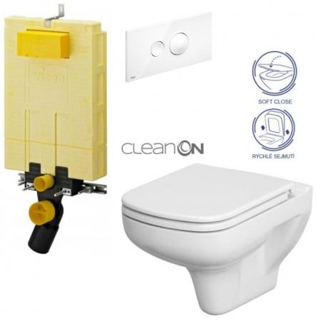 AKCE/SET/VIEGA - SET MONO modul WC čelní ovládání + ovládací tlačítko BÍLÉ + WC CERSANIT COLOUR CLEANON + SEDÁTKO (V606732BI CN1)