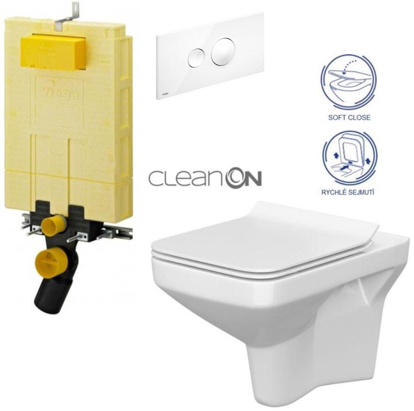 AKCE/SET/VIEGA - MONO modul WC čelní ovládání + ovládací tlačítko BÍLÉ + WC CERSANIT COMO CLEANON + SEDÁTKO (V606732BI CO1)