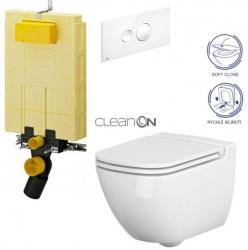 AKCE/SET/VIEGA - SET MONO modul WC čelní ovládání + ovládací tlačítko BÍLÉ + WC CERSANIT CASPIA CLEANON + SEDÁTKO (V606732BI CP1)