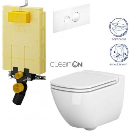 AKCE/SET/VIEGA - MONO modul WC čelní ovládání + ovládací tlačítko BÍLÉ + WC CERSANIT CASPIA CLEANON + SEDÁTKO (V606732BI CP1)