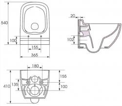 AKCE/SET/VIEGA - MONO modul WC čelní ovládání + ovládací tlačítko BÍLÉ + WC CERSANIT CASPIA CLEANON + SEDÁTKO (V606732BI CP1), fotografie 16/9