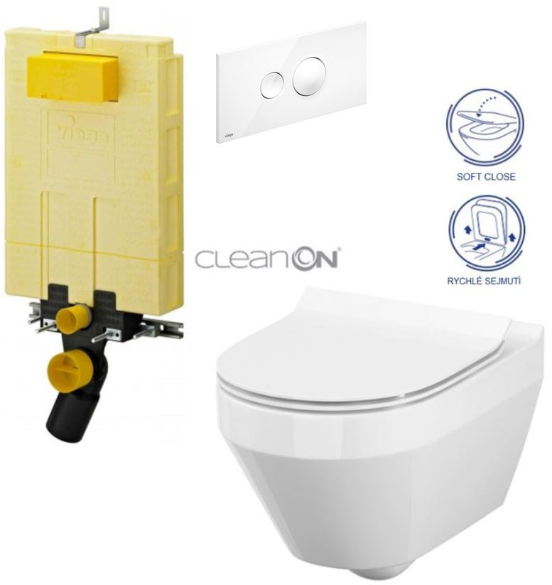 AKCE/SET/VIEGA - MONO modul WC čelní ovládání + ovládací tlačítko BÍLÉ + WC CERSANIT CREA OVÁL CLEANON + SEDÁTKO (V606732BI CR1)