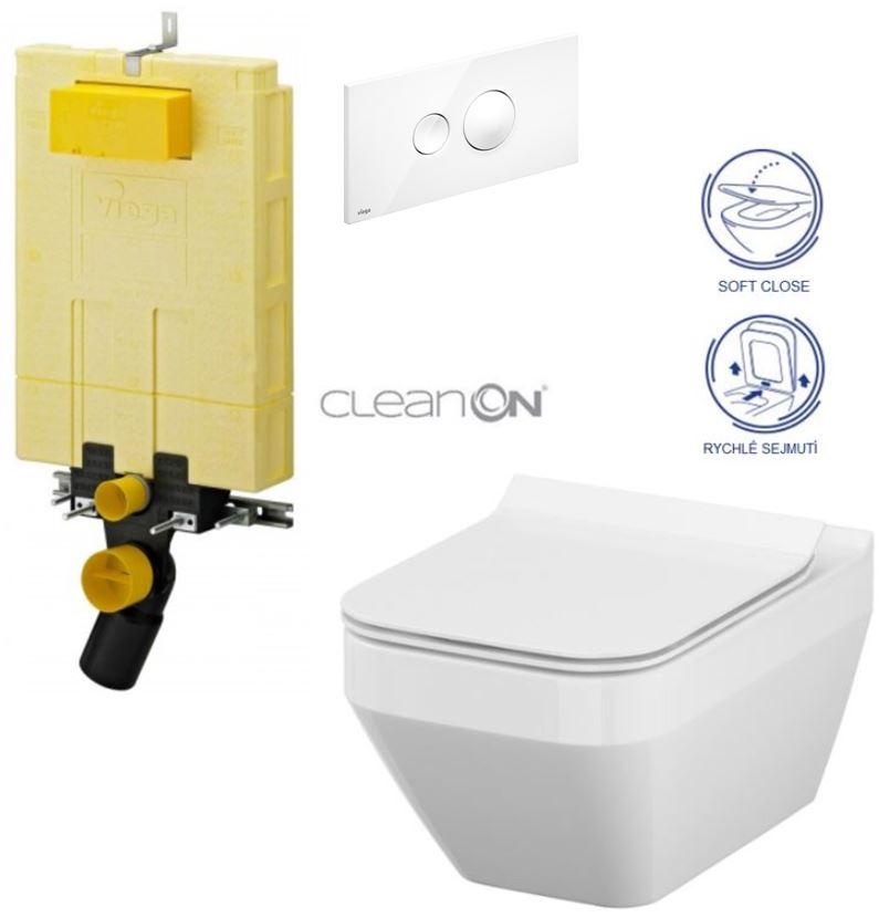 MONO modul WC čelní ovládání + ovládací tlačítko BÍLÉ + WC CERSANIT CREA HRAN. CLEANON + SEDÁTKO (V606732BI CR2) - AKCE/SET/VIEGA
