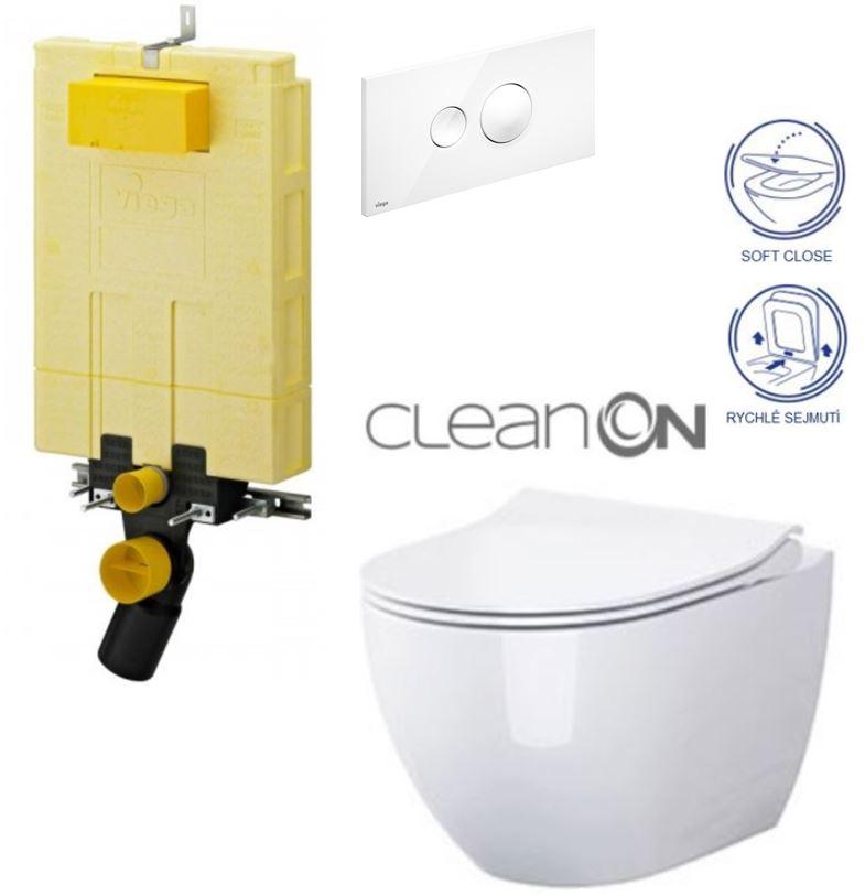 AKCE/SET/VIEGA - MONO modul WC čelní ovládání + ovládací tlačítko BÍLÉ + WC OPOCZNO URBAN HARMONY CLEANON + SEDÁTKO (V606732BI HA1)
