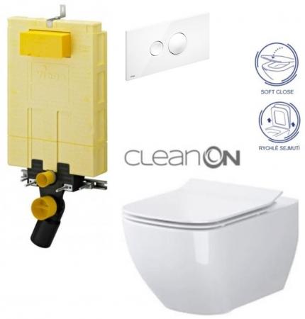 AKCE/SET/VIEGA - SET MONO modul WC čelní ovládání + ovládací tlačítko BÍLÉ + WC OPOCZNO METROPOLITAN CLEANON + SEDÁTKO (V606732BI ME1)
