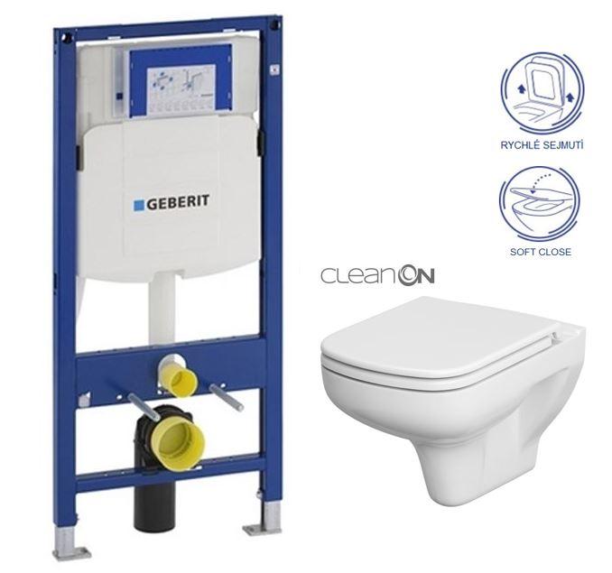 AKCE/SET/GEBERIT - Duofix pro závěsné WC 111.300.00.5 bez ovládaví desky + WC CERSANIT COLOUR NEW CLEANON + Sedátko (111.300.00.5 CN1)