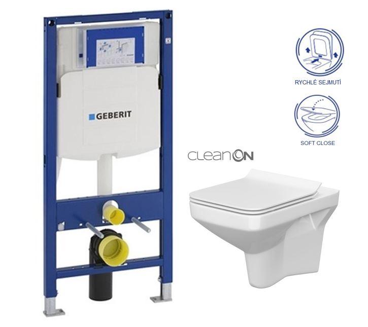 AKCE/SET/GEBERIT - Duofix pro závěsné WC 111.300.00.5 bez ovládaví desky + WC CERSANIT COMO NEW CLEANON + Sedátko (111.300.00.5 CO1)