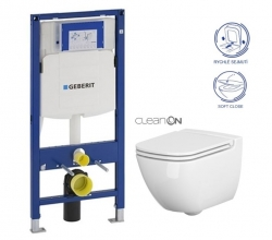 Duofix pro závěsné WC 111.300.00.5 bez ovládací desky + WC CERSANIT Caspia NEW CLEANON + Sedátko (111.300.00.5 CP1) - AKCE/SET/GEBERIT