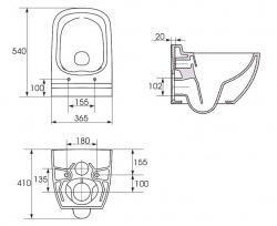 AKCE/SET/GEBERIT - Duofix pro závěsné WC 111.300.00.5 bez ovládací desky + WC CERSANIT Caspia NEW CLEANON + Sedátko (111.300.00.5 CP1), fotografie 6/8