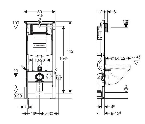 AKCE/SET/GEBERIT - Duofix pro závěsné WC 111.300.00.5 bez ovládací desky + WC CERSANIT Caspia NEW CLEANON + Sedátko (111.300.00.5 CP1), fotografie 14/8