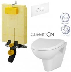 AKCE/SET/VIEGA - MONO modul WC čelní ovládání + ovládací tlačítko BÍLÉ + WC CERSANIT PARVA CLEANON + SEDÁTKO (V606732BI PA1)
