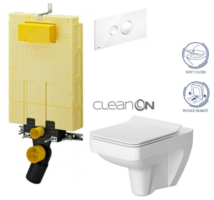 AKCE/SET/VIEGA - MONO modul WC čelní ovládání + ovládací tlačítko BÍLÉ + WC CERSANIT SPLENDOUR CLEANON + SEDÁTKO (V606732BI SP1)