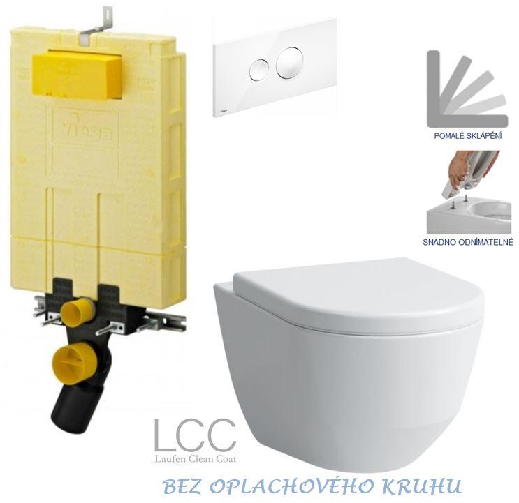 AKCE/SET/VIEGA - MONO modul WC čelní ovládání + ovládací tlačítko BÍLÉ + WC LAUFEN PRO LCC RIMLESS + SEDÁTKO (V606732BI LP2)